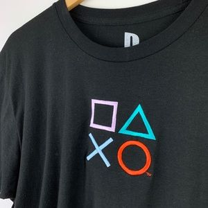 Playstation Shirts - Playstation Embroidered Button Symbols T Shirt L